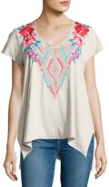 Johnny Was Floral-Embroidered Drape Top, Sand