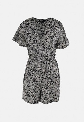 Missguided Black Paisley Print Wrap Flippy Playsuit