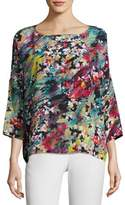 M Missoni 3/4-Sleeve Abstract Floral-Print Silk Top, Multi Pattern