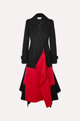 Alexander McQueen Asymmetric Double-breasted Two-tone Wool And Cashmere-blend Coat - Black