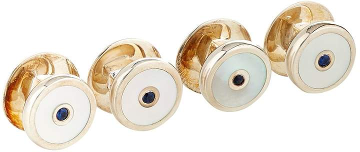 Deakin & Francis Mother of Pearl and Sapphire Dress Studs (Set of 4)
