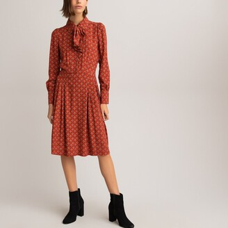 La Redoute Collections Printed Pussy Bow Dress with Long Sleeves