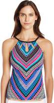 Caribbean Joe Women's Gypsy Charm Underwire High Neck Tankini with Cut Outs