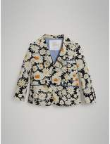 Burberry Piping Detail Daisy Print Cotton Blazer