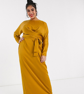 ASOS DESIGN Curve wrap waist batwing sleeve maxi dress in mustard