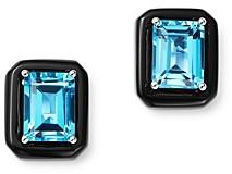 Bloomingdale's Swiss Blue Topaz & Black Onyx Stud Earrings in 14K White Gold - 100% Exclusive