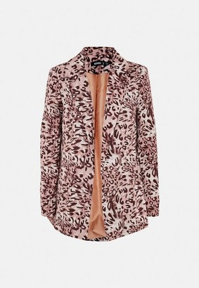 Missguided Brown Leopard Print Co Ord Boyfriend Blazer