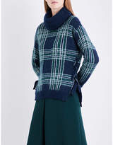 Claudie Pierlot Check-pattern turtleneck knitted jumper