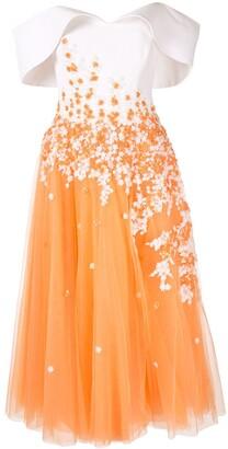 Saiid Kobeisy Contrast Flared Midi Dress