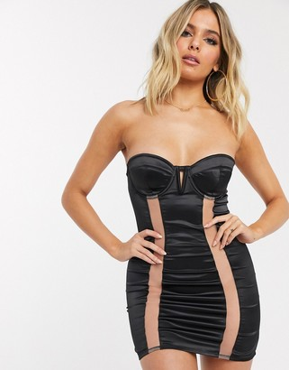 ASOS DESIGN Andrea padded underwire strapless slip dress with mesh panels