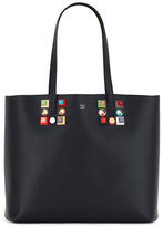 Fendi Studded Leather Shopping Tote Bag, Black
