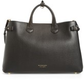 Burberry Large Banner - Derby House Check Calfskin Leather Tote - Black