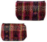 Two Handwoven Fuchsia Cotton Cosmetic Bags from Guatemala, 'Fuchsia Maya Art'