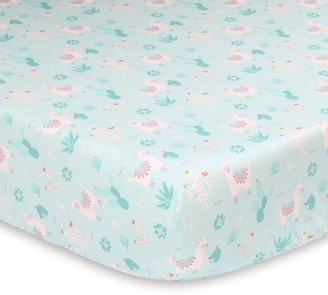 The Peanut Shell Baby Llama & Cactus Fitted Crib Sheet