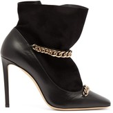Jimmy Choo Maruxa 100 Chain-strap Leather Ankle Boots - Womens - Black