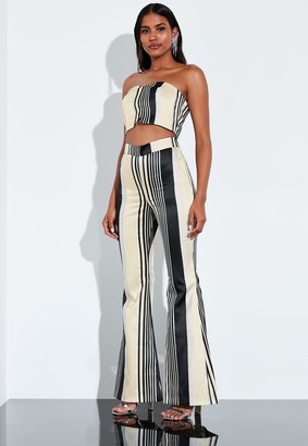 Missguided Silver Metallic Stripe Flared Trousers