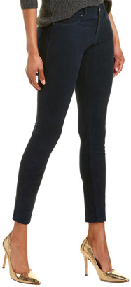 AG Jeans The Farrah Dark Cove Leather High-Rise Skinny Ankle Cut
