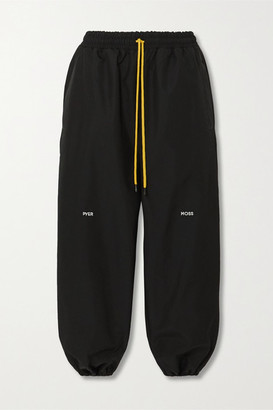 Pyer Moss Cropped Embroidered Shell Track Pants - Black