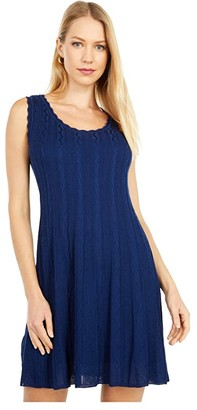 M Missoni Sleeveless Scoop Neck Fit-and-Flare Short Dress (Navy) Women's Clothing