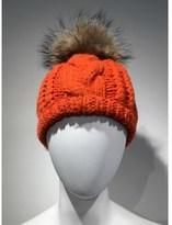 Linda Richards Cable Knit Hat With Fur Pom Pom.
