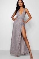 boohoo Kayley Plunge Wrap Sequin Maxi Dress