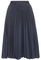 MSGM Pleated denim midi skirt