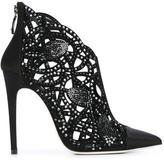 Loriblu rhinestone cut-out ankle boots - women - Satin Ribbon/rubber/Leather - 38