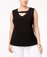 Nine West Plus Size Keyhole Top