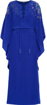 Roberto Cavalli Embellished Silk Crepe De Chine Gown - Royal blue
