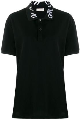 Alexander McQueen Collar Embroidered Polo Top