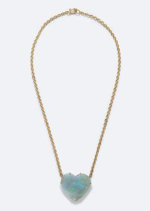 "Irene Neuwirth Oak 18k Yellow Gold Opal Heart Necklace, 16""L"