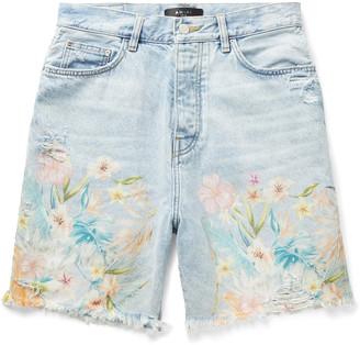 Amiri Distressed Floral-Print Denim Shorts