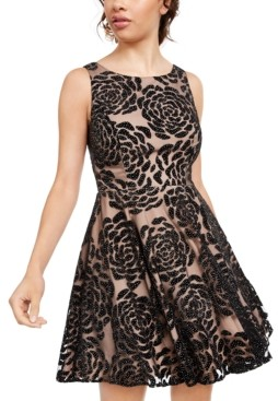 City Studios Juniors' Embellished Floral Burnout Velvet Dress