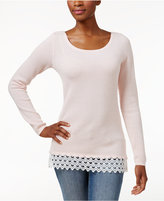 Charter Club Petite Lace-Trim Textured Sweater, Created for Macy's