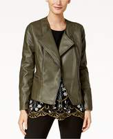 Alfani Faux-Leather Whipstitched Moto Jacket, Created for Macy's