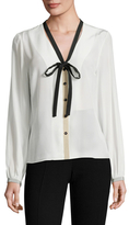 Carolina Herrera Silk Neck Tie Blouse