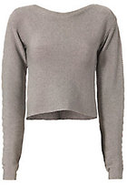 Thierry Mugler Open Back Metallic Cropped Sweater
