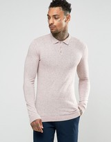 Asos Muscle Fit Knitted Polo in Pink Slub Cotton