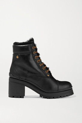 Miu Miu Shearling-lined Leather Ankle Boots - Black
