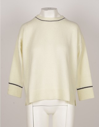 Bruno Manetti Cream Wool & Cashmere Blend Women's Sweater