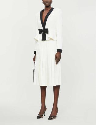 Alessandra Rich Pleated high-waisted wool midi skirt