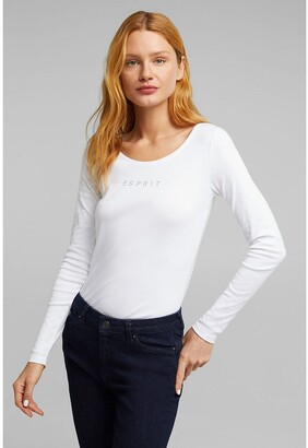 Esprit Cotton Crew-Neck T-Shirt with Long Sleeves