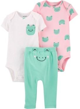 Carter's Baby Girls 3-Pc. Cotton Frog Bodysuits & Pants Set