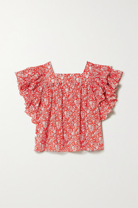 Horror Vacui Marcy Ruffled Floral-print Cotton Blouse - Red