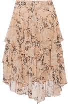Jason Wu Asymmetric Ruffled Floral-print Silk-georgette Midi Skirt - Peach