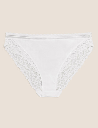 Marks and Spencer Cotton & Lace High Leg Knickers