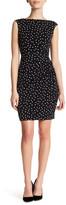 London Times Polka Dot Side Ruched Dress (Petite)