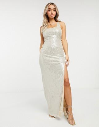 Club L London square-neck sequin maxi dress in silver