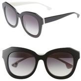 Alice + Olivia Women's Frank 52Mm Geometric Sunglasses - Black/ White