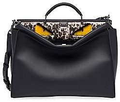 Fendi Men's Peekaboo Fur-Trimmed Leather Briefcase